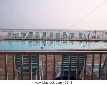 Pool With Beach In Background poster