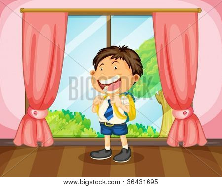 illustration of a boy with a bag near window