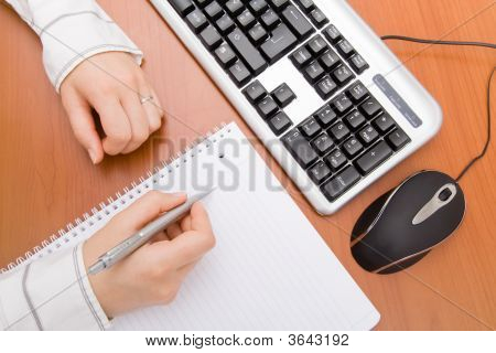 Business Woman Writing In A Notebook