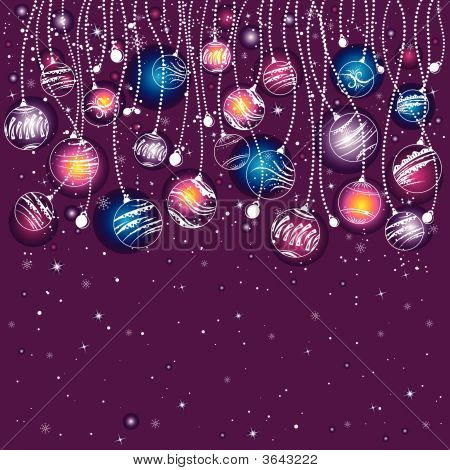 Purple Christmas Card, Vector