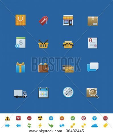 Vector common website icons. Shop