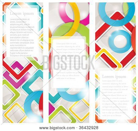 Set of  multicolored banners with circles and squares. Vector  format for your design