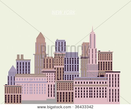 New York houses illustration