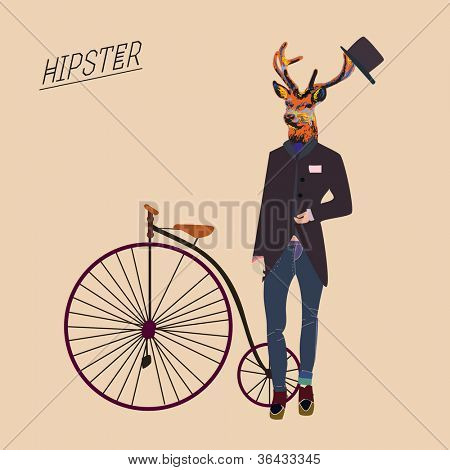 Hipster deer with a vintage bike and cool hat