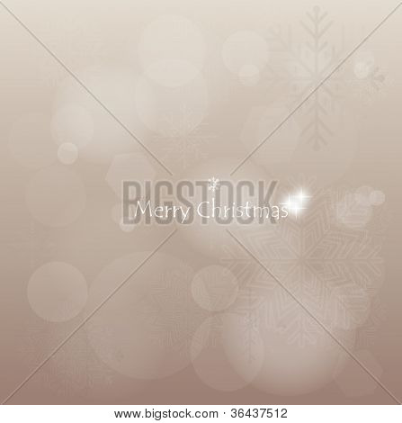 Light silver abstract Christmas background with white snowflakes, vector illustration.