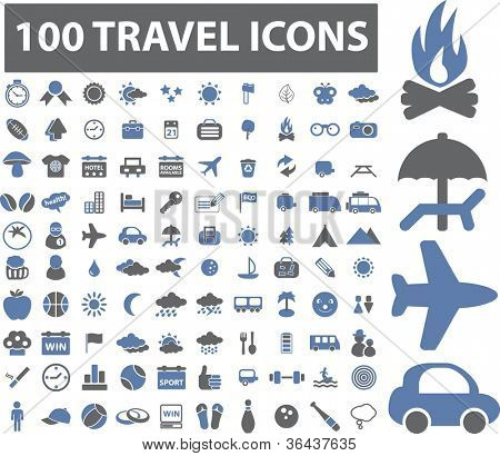 100 travel icons set, vector