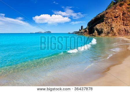 Aiguas Blanques Agua blanca Ibiza beach with turquoise water