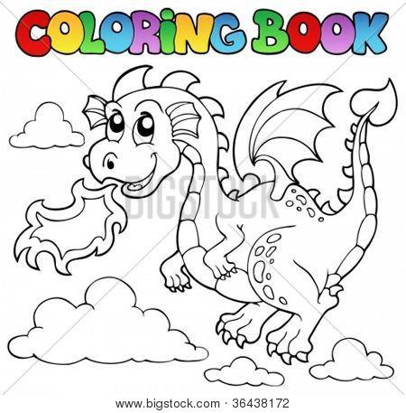 Coloring book dragon theme image 3 - vector illustration.