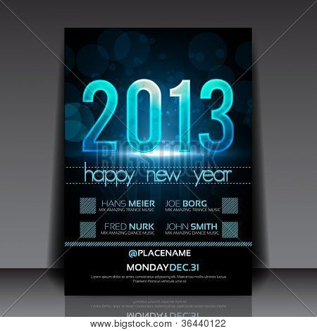 Happy New Year 2013 Blue Vector Flyer Template
