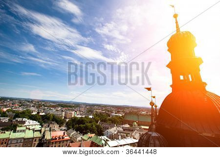 View of the old town of Cracow from Church of Our Lady Assumed into Heaven (St. Mary's Church), Poland.