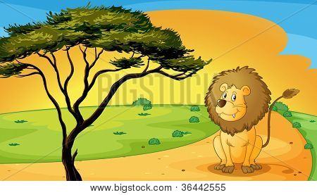 illustration of a lion sitting on raod