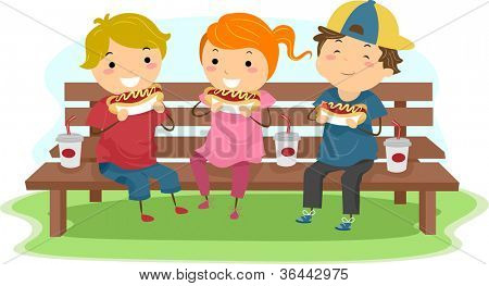 Illustration of Kids Eating Hotdogs Together