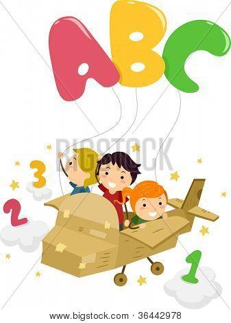 Abbildung mit Kids auf einer Ebene, die das Spiel mit Buchstaben und Zahlen