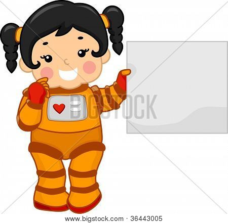 Illustration of a Girl Holding a Blank Board While Dressed in a Spacesuit