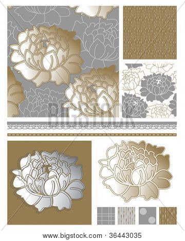 Metallic Floral Seamless Patterns and Icons.  Use to create fab digital paper for scrap booking or wallpaper for rooms in virtual homes.