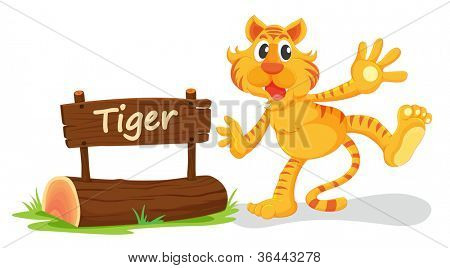 illustration of tiger and name plate on a white