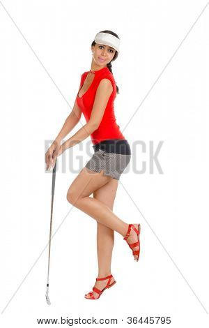 Pretty young lady golfer with golf club isolated on white background