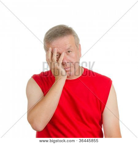 A man smacking his face. Isolated on white. Body language. Disappointment. Self-accusation.