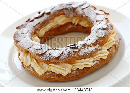 paris brest, choux pastry with praline cream, french bistro dessert