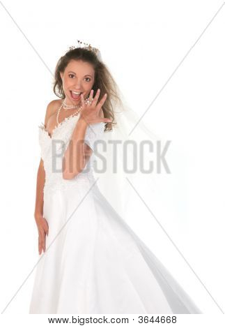 Bride Showing Her Large 3 Carat Diamong Ring