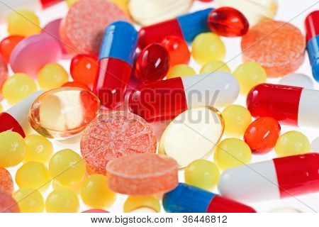 Pills, tablets and drugs closeup view, medical concept