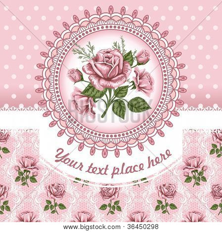 Pink romantic floral background with vintage roses