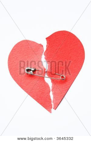 Broken Heart Joined With Safety Pin