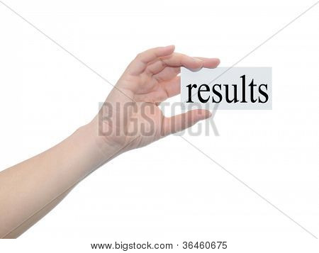 Concept or conceptual human or man hand isolated on white background holding a paper banner with a black text as a metaphor for business,management,marketing,vision,results,goal,success or strategy