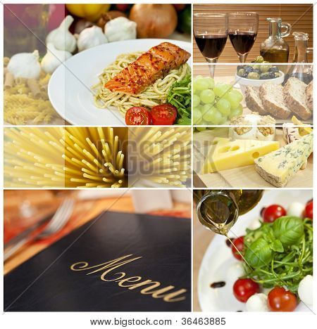 Macro photographs of a fresh food montage, menu salmon cheese wine spaghetti sushi bread