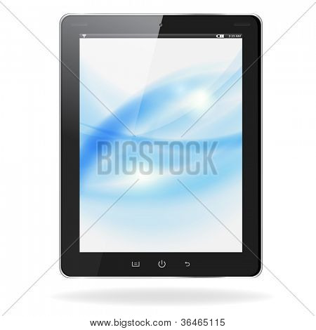 Realistic tablet pc computer with blue waves on screen isolated on white background. Vector eps10 illustration