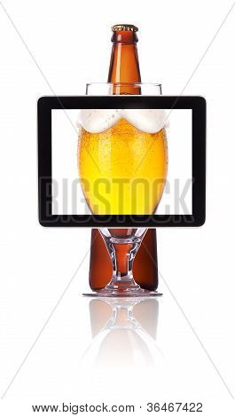 Beer Glass And Bottle On Tablet Computear Screen