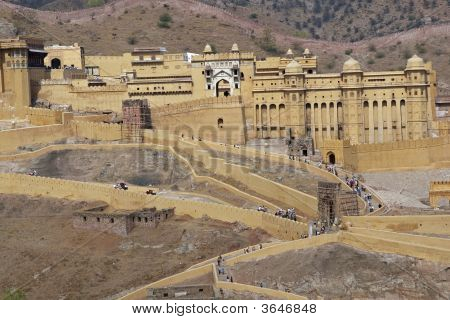 Magnificent Indian Fortress At Amber, Rajasthan