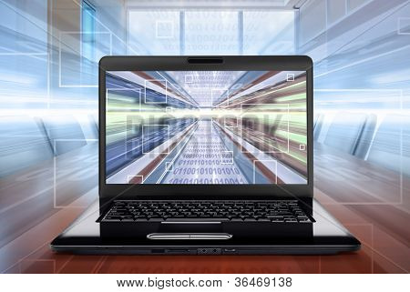 computer technology background with laptop. Digital illustration.