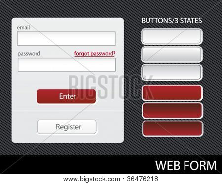 ready-made web design elements - sign-in and registration form with 3 states of buttons