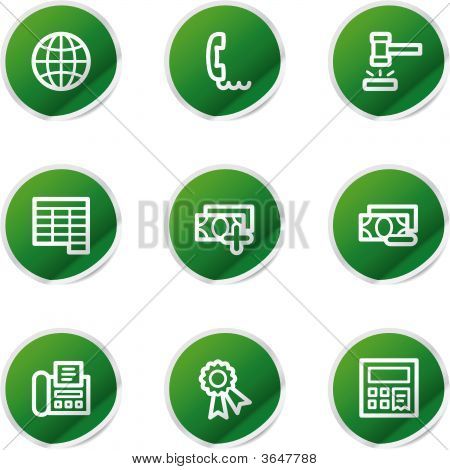 Finance 2 Icons, Green Stickers Series