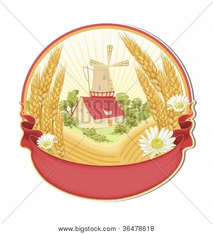 Retro label with mill, wheat ears, chamomiles and empty seat for your text