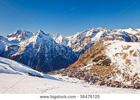 View over ski resort in French Alps