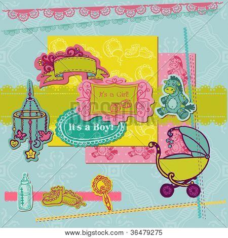 Scrapbook Design Elements - Baby Arrival Set - for scrap booking or design in vector