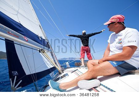 MEDITERRANEAN SEA, TURKEY- MAY 29: Unidentified sailors participates in sailing regatta Sail & Fun Trophy 2012 from Marmaris to Fethiye, May 29, 2012 in the Mediterranean Sea, Turkey.