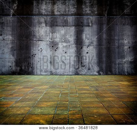 Large concrete wall and floor.