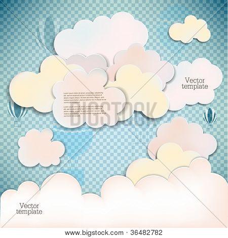 Banderolas blancas y burbujas de discurso