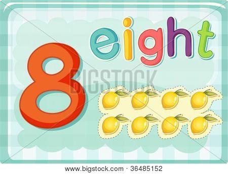 Illustrierte-Flash-Karte zeigt die Zahl 8