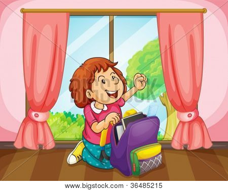 illustration of a girl with bag in room near a window