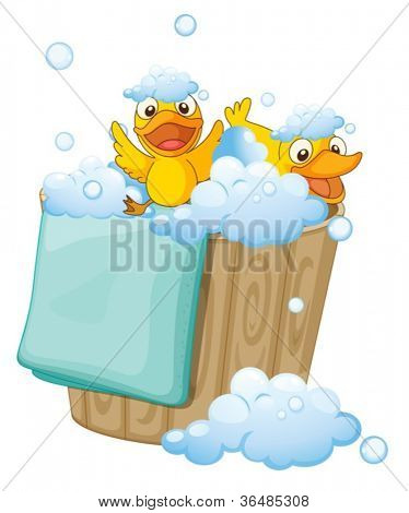 illustration of ducklings in a bucket full of foam
