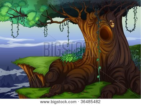 Illustration of a detailed tree hollow