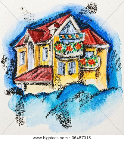 Fairy house with flowered balcony, watercolor with slate-pencil painting