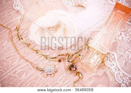Women necklace and accessories on the fabric