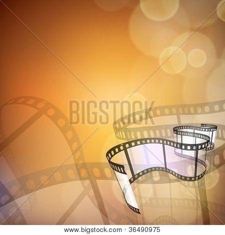 Film stripe or film reel on shiny movie background. EPS 10