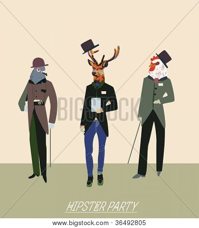 Vintage hipsters trendy illustration