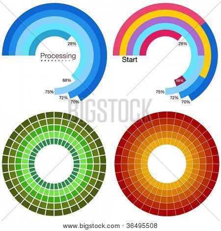 An image of a processing wheel chart set.